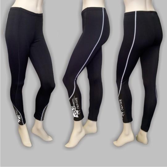 DEXTER - Kalhoty FLOWERS dlouhé bez vložky black